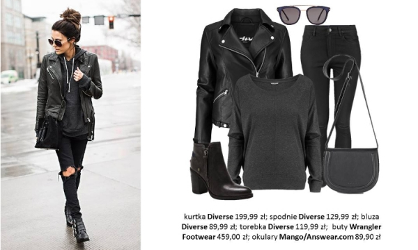 Total Black look z marką Diverse